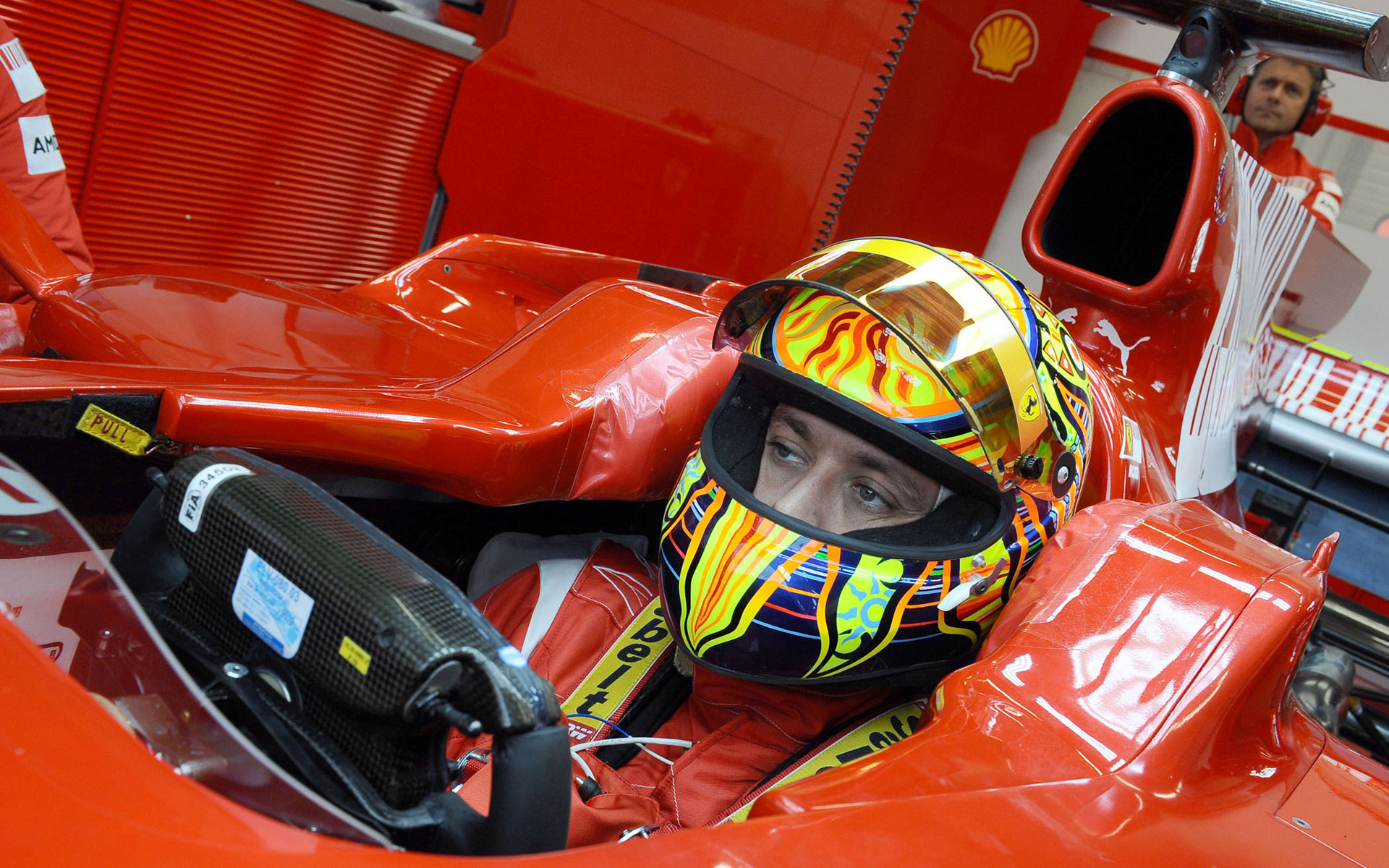 Valentino Rossi in a Ferrari during testing in 2010