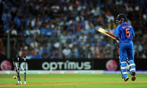Indian batsman Gautam Gambhir looks back