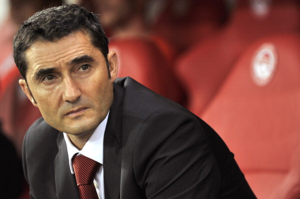 SEPTEMBER 18:  Ernesto Valverde, head coach of Olympiacos FC during the Greek Super League match between Olympiacos FC and Xanthi FC at the Karaiskakis Stadium on September 18, 2011 in Piraeus, Greece. (Photo by Louisa Gouliamaki/EuroFootball/Getty Images)
