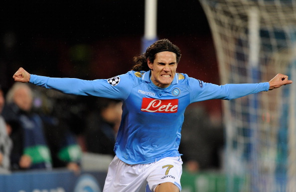 Edinson Cavani of SSC Napoli celebrates after scoring the second goal during the UEFA Champions League round of 16 first leg match between SSC Napoli and Chelsea FC at Stadio San Paolo on February 21, 2012 in Naples, Italy.  (Photo by Paolo Bruno/Getty Images)