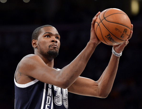 Kevin Durant #35 of the Oklahoma City Thunder shoots a free throw during the game against the Los Angeles Lakers at Staples Center on January 27, 2013 in Los Angeles, California.  NOTE TO USER: User expressly acknowledges and agrees that, by downloading and or using this photograph, User is consenting to the terms and conditions of the Getty Images License Agreement.  (Photo by Harry How/Getty Images)
