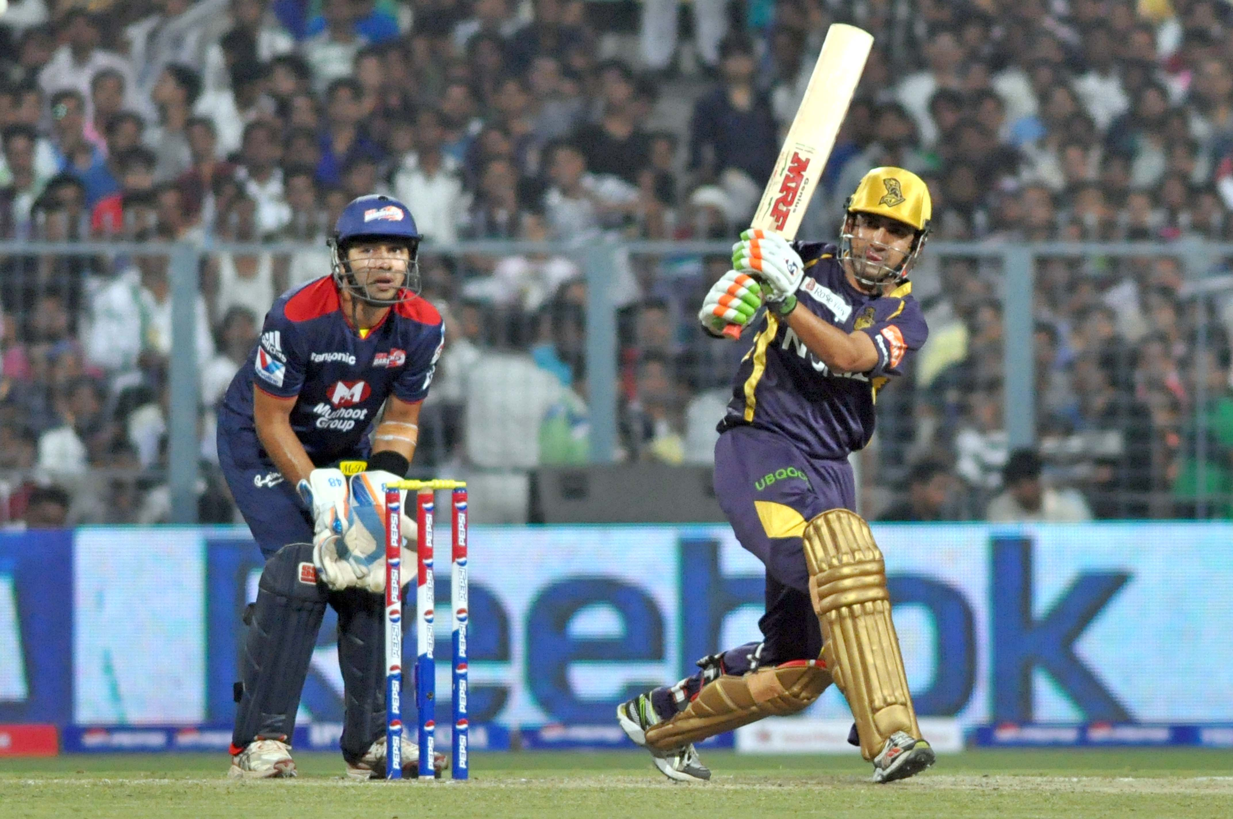 Kolkata Knight Riders captain Gautam Gambhir in action during IPL T-20 match between KKR and DD at Eden Gardens in Kolkata on April 3, 2013. (Photo: IANS)