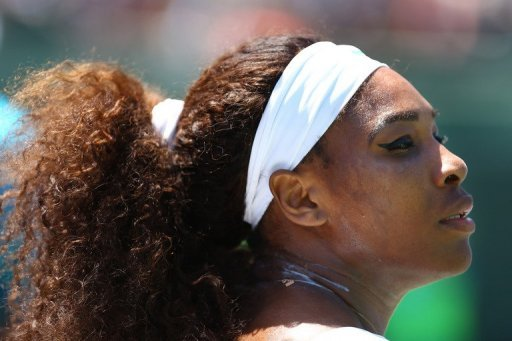 Serena Williams during the Miami Masters final against Maria Sharapova on March 30, 2013
