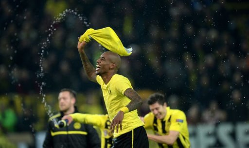 Dortmund's Felipe Santana celebrates in Dortmund, western Germany on April 9, 2013