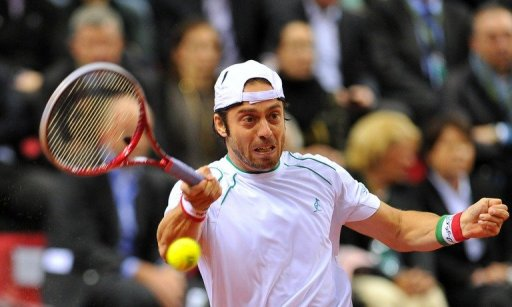 Italy's Paolo Lorenzi is pictured during a Davis Cup match in Turin on February 1, 2013