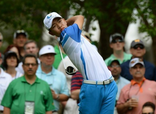 Guan Tianlang hits a shot during the first round of the 77th Masters in Augusta, on April 11, 2013