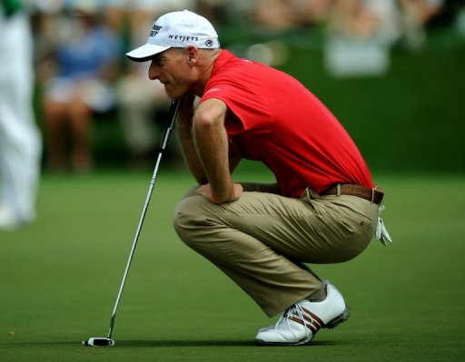 Jim Furyk of the US plays during the second round of the 77th Masters, April 12, 2013 in Augusta, Georgia