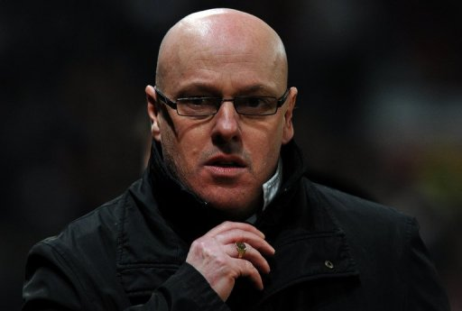 Brian McDermott at an English FA Cup match between Manchester United and Reading in Manchester on February 18, 2013