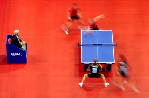 Table tennis players, seen in action during the European Table Tennis Championships in Ostrava, on September 16, 2010
