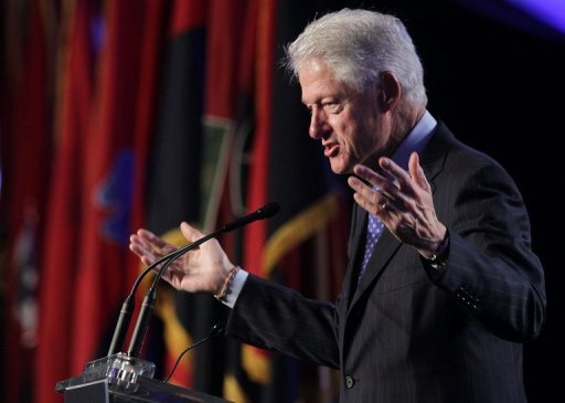 Former US president Bill Clinton is pictured during a speech in Washington, DC on April 29, 2013