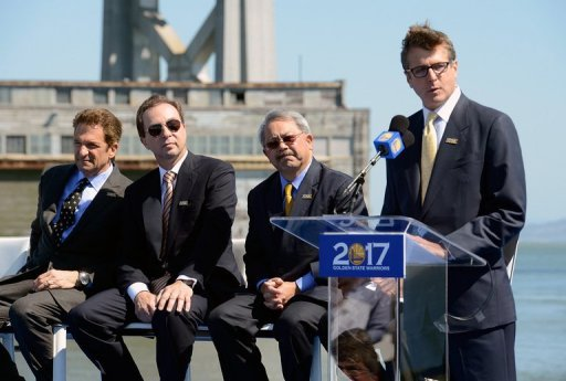 Golden State Warriors president Rick Welts is pictured during a speech in San Francisco on May 22, 2012