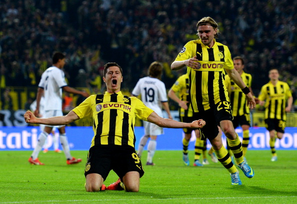 Robert Lewandowski of Borussia Dortmund celebrates after scoring his team