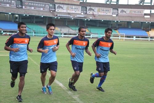 Jewel Raja (second from right)  Photo Credit: AIFF Media