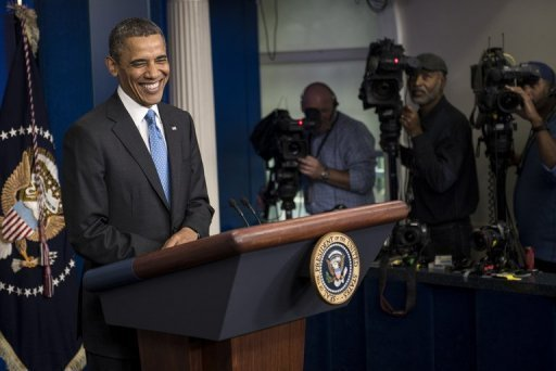 US President Barack Obama during a press conference at the White House on April 30, 2013