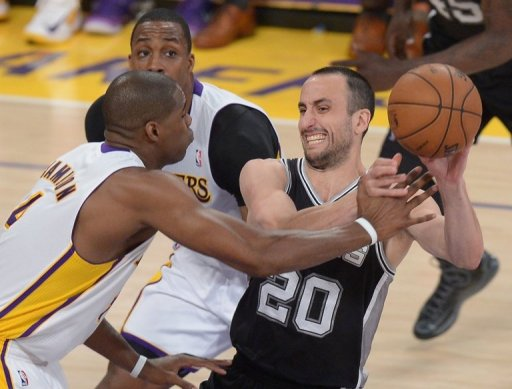 Manu Ginobili (R) of the San Antonio Spurs in action against the Los Angeles Lakers on April 28, 2013
