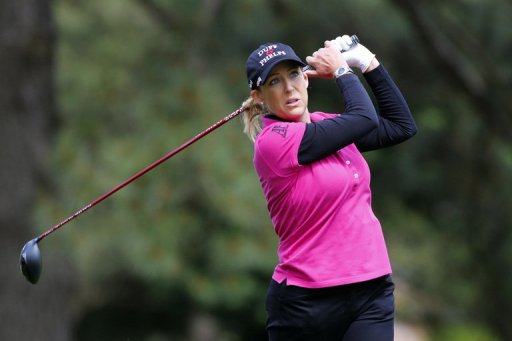 Cristie Kerr hits her tee shot on the seventh hole at Kingsmill Resort on May 4, 2013 in Williamsburg, Virginia