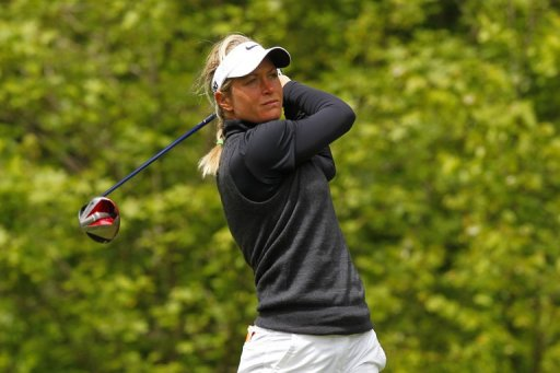Suzann Pettersen hits her tee shot on the sixth hole during the final round of the Kingsmill Championship on May 5, 2013