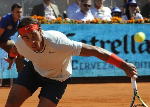 Spanish player Rafael Nadal at the Madrid Masters, the Magic Box sports complex in Madrid on May 11, 2013
