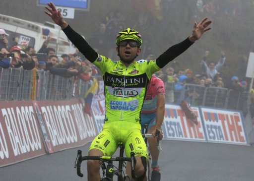 Italian Mauro Santambrogio wins the 14th stage of the 96th Giro d'Italia on May 18, 2013 in Bardonecchia - Jafferau