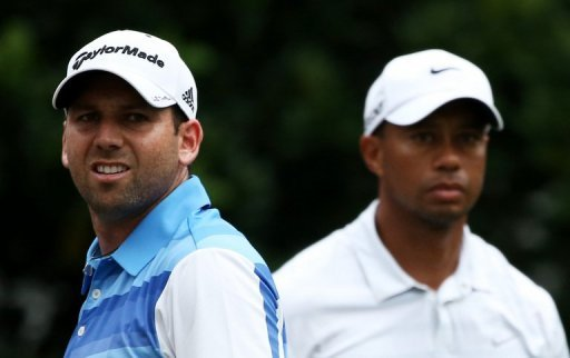 Tiger Woods (R) and Sergio Garcia during The Players Championship at TPC Sawgrass in Florida, May 11, 2013