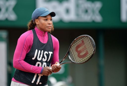 US tennis player Serena Williams takes part in a training session before the French Tennis Open in Paris, May 24, 2013