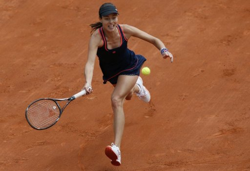 Serbia's Ana Ivanovic during a French tennis Open first round match on May 26, 2013 at the Roland Garros stadium, Paris