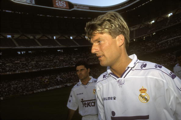 July 01, 1994. Santiago Bernabeu stadia, Madrid. Spain. The soccer player Michael Laudrup. At the back, the soccer player Rafael Alkorta.