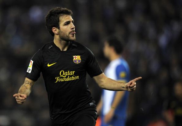Barcelona's forward Cesc Fabregas celebr