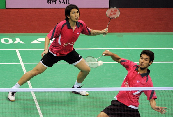 Badminton players Issara Bodin (L) and Jongjit Maneepong of Thailand pictured here during the 2012 India Open. The duo (now have different doubles partners) came to blows during the final of the Canada Open.
