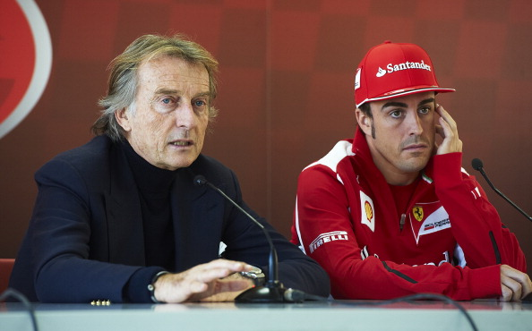 Ferrari Chairman Luca Cordero di Montezemolo (L) and Fernando Alonso of Spain in press conference during the Ferrari Challenge of the Finali Mondiali at the Ricardo Tormo on December 2, 2012 in Cheste, Spain. (Getty Images)