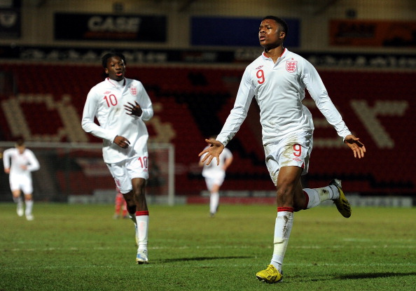 Chuba Akpom (R) of England U19 celebrates scoring against Denmark U19 at Keepmoat Stadium on February 5, 2013 in Doncaster, England.  (Getty Images)