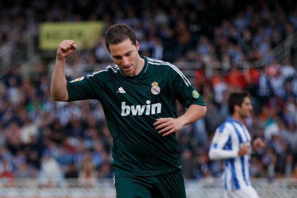 Gonzalo Higuain of Real Madrid CF celebrates scoring their opening goal during the La Liga match between Real Sociedad de Futbol and Real Madrid CF at Estadio Anoeta on May 26, 2013 in San Sebastian, Spain. (Getty Images)