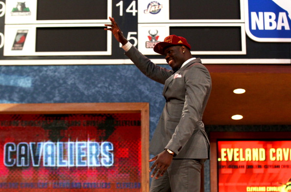 Anthony Bennett of UNLV reacts after he was drafted #1 overall by the Cleveland Cavaliers during the first round of the 2013 NBA Draft at Barclays Center on June 27, 2013 in in the Brooklyn Borough of New York City. (Getty Images)