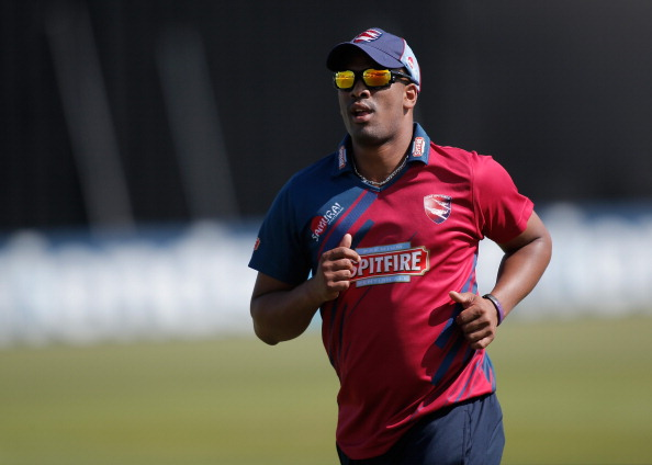 Vernon Philander of Kent looks on in the field during the Friends Life T20 match between Kent and Surrey at the St. Lawrence Ground on June 30, 2013 in Canterbury, England.  (Getty Images)
