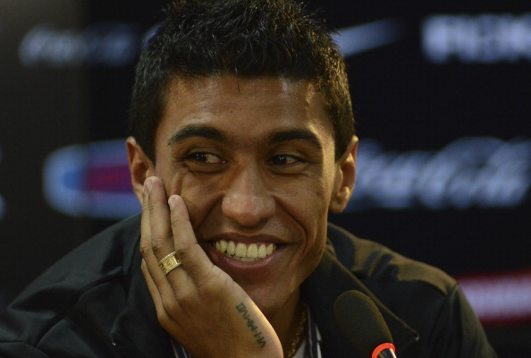 Paulinho gives a press conference after leaving Corinthians at CT Joaquim Grava on July 01, 2013 in Sao Paulo, Brazil. (Getty Images)