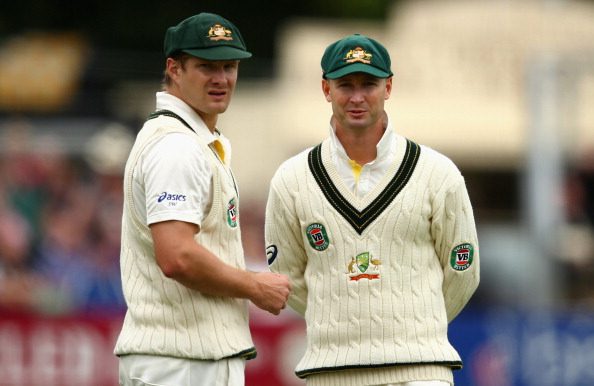 Michael Clarke and Shane Watson of Australia look on during day two of the Tour Match between Worcestershire and Australia at New Road at New Road on July 3, 2013 in Worcester, England.  (Getty Images)