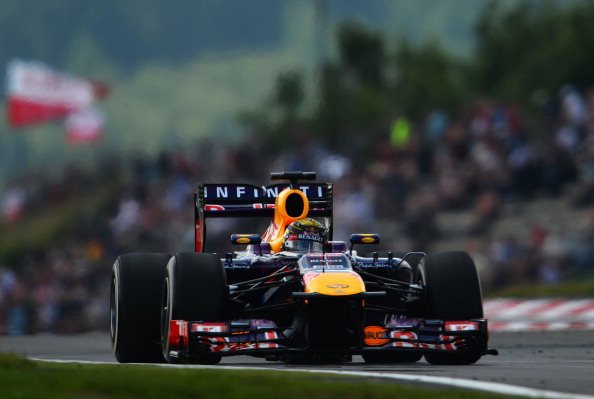 Sebastian Vettel of Germany and Infiniti Red Bull Racing drives during the final practice session prior to qualifying for the German Grand Prix at the Nuerburgring on July 6, 2013 in Nuerburg, Germany.  (Getty Images)