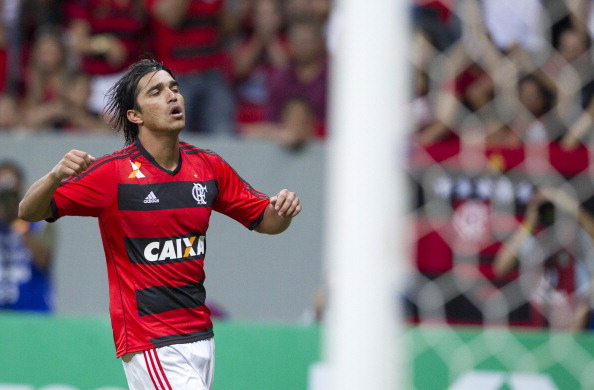 Marcelo Moreno of  Flamengo reacts during a match between Flamengo and Coritiba as part the Brazilian Championship Serie A on July 06, 2013  in Brasilia, Brasil. (Photo by Bruno Spada/LatinContent/Getty Images)