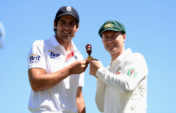 England captain Alastair Cook and Australia captain Michael Clarke pose with the Ashes urn at Trent Bridge on July 9, 2013 in Nottingham, England.  (Getty Images)