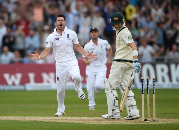 James Anderson of England celebrates the wicket of Michael Clarke, captain of Australia during day one of the 1st Investec Ashes Test match between England and Australia at Trent Bridge Cricket Ground on July 10, 2013 in Nottingham, England.  (Getty Images)