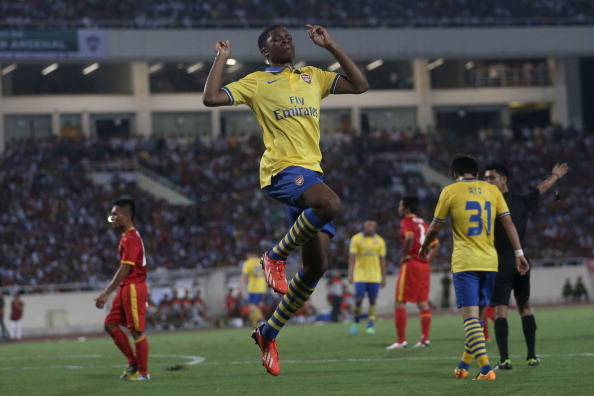 Chuba Akpom #32 of Arsenal celebrates after scoring a goal against Vietnam during their friendly at My Dinh National Stadium on July 17, 2013 in Hanoi, Vietnam. (Getty Images)