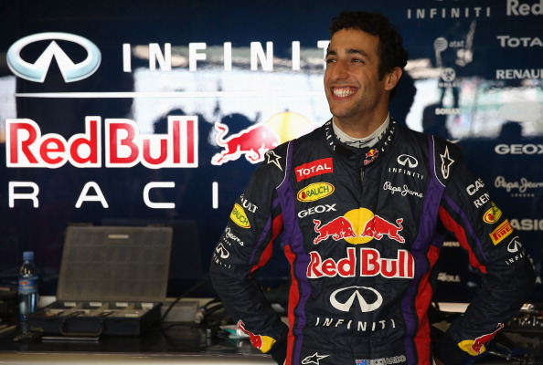 Daniel Ricciardo of Australia prepares to drive for the Infiniti Red Bull Racing team during the young drivers test at Silverstone Circuit on July 18, 2013 in Northampton, England.  (Getty Images)