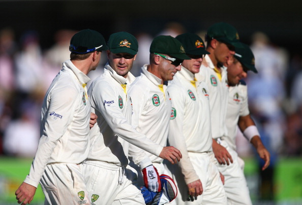 Michael Clarke of Australia leads his team from the field at stumps during day two of the 2nd Ashes Test against England at Lord's Cricket Ground on July 19, 2013 in London, England.  (Getty Images)