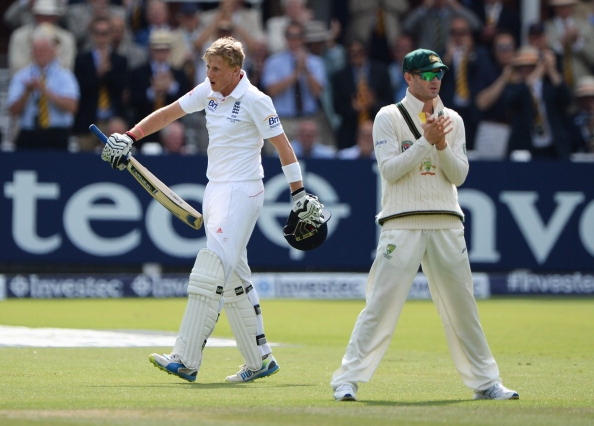 oe Root of England celebrates his century as Michael Clarke of Australia applauds during day three of the 2nd Ashes Test  at Lord's Cricket Ground on July 20, 2013 in London, England.  (Getty Images)