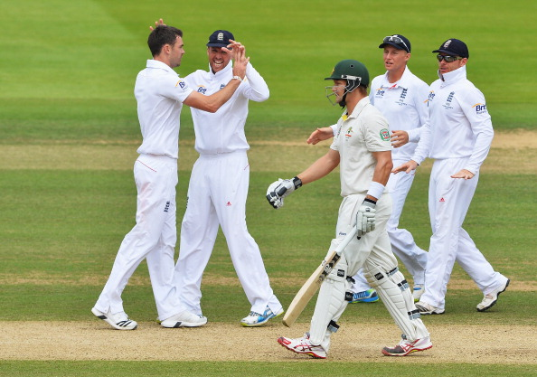James Anderson (L) of England celebrates the wicket of Shane Watson of Australia during day four of the 2nd Ashes Test at Lord's Cricket Ground on July 21, 2013 in London, England.  (Getty Images)