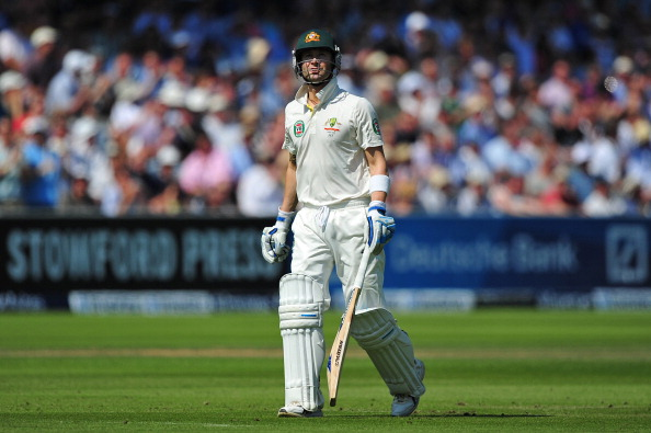 A dejected Michael Clarke during the second test