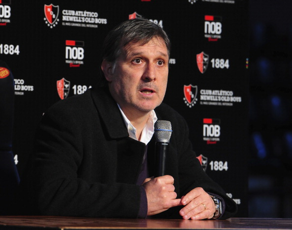 Gerardo Martino talks during a press conference  to present him as the new Head Coach of Barcelona FC at Newell´s Old Boys Stadium on July 23, 2013 in Rosario, Argentina. (Getty Images)
