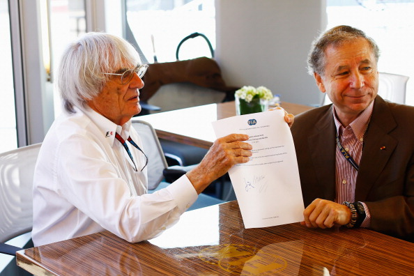 (L-R) Bernie Ecclestone the President and CEO of the Formula One Group and Jean Todt the President of the FIA sign a memorandum agreement setting out the framework for implementation of the 2013 Concorde Agreement prior to the qualifying session for the Hungarian Formula One Grand Prix at Hungaroring on July 27, 2013 in Budapest, Hungary.  (Getty Images)