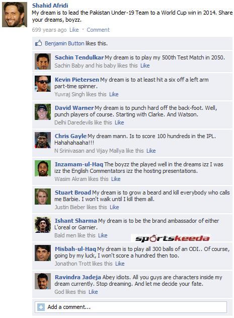 Fake FB Wall: Shahid Afridi shares his dream on Facebook