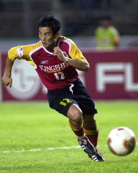 Bhaicung Bhutia of Kingfisher East Bengal, India, in action during a final match of Asia Champion Club 2003 in Jakarta 26 July 2003. (Getty Images)
